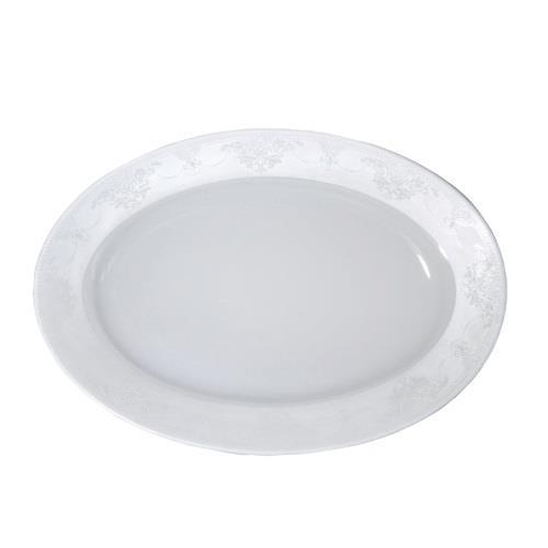 Πιατέλα σερβιρίσματος οβάλ Nice πορσελάνινη λευκή/πλατίνα Δ36cm