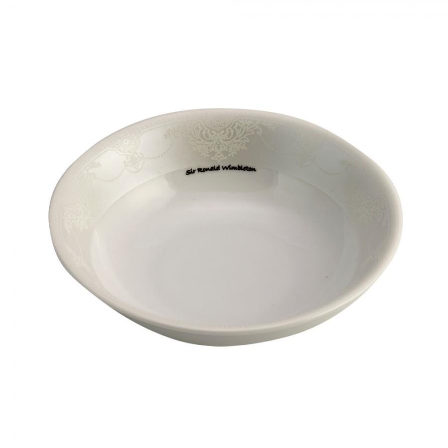 Μπωλ σερβιρίσματος Nice πορσελάνινο λευκό/πλατίνα Δ14cm