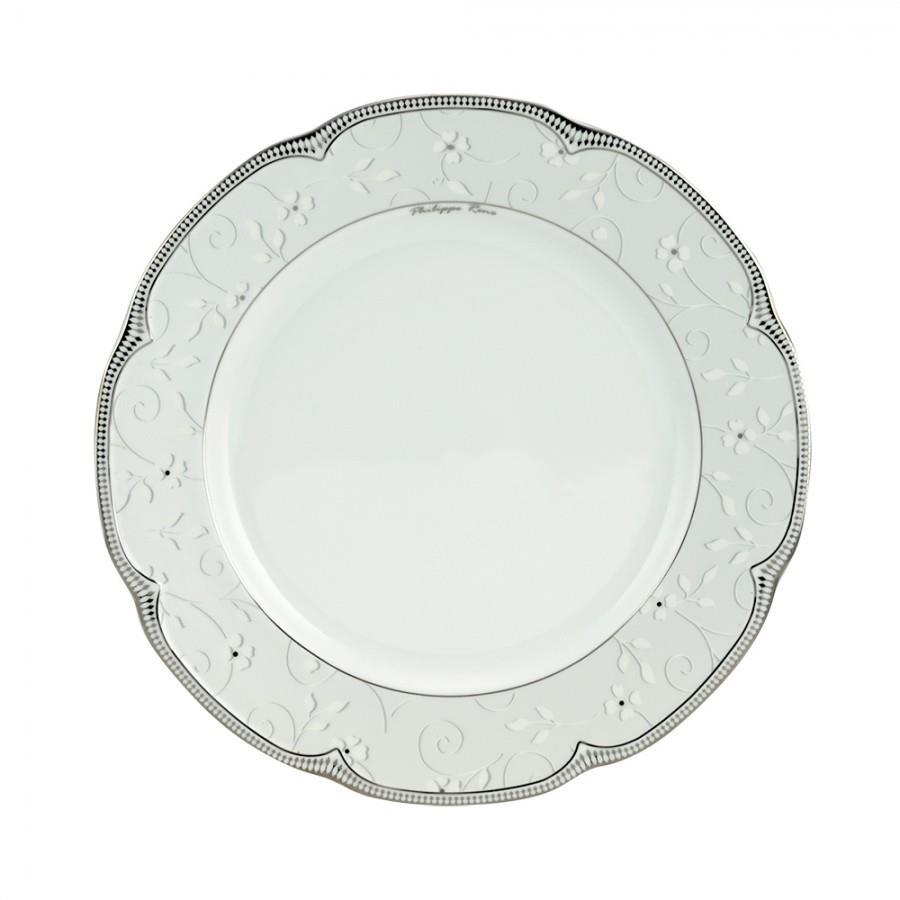 Πιατέλα σερβιρίσματος στρογγυλή Izabella πορσελάνινη λευκή/πλατίνα Δ31cm