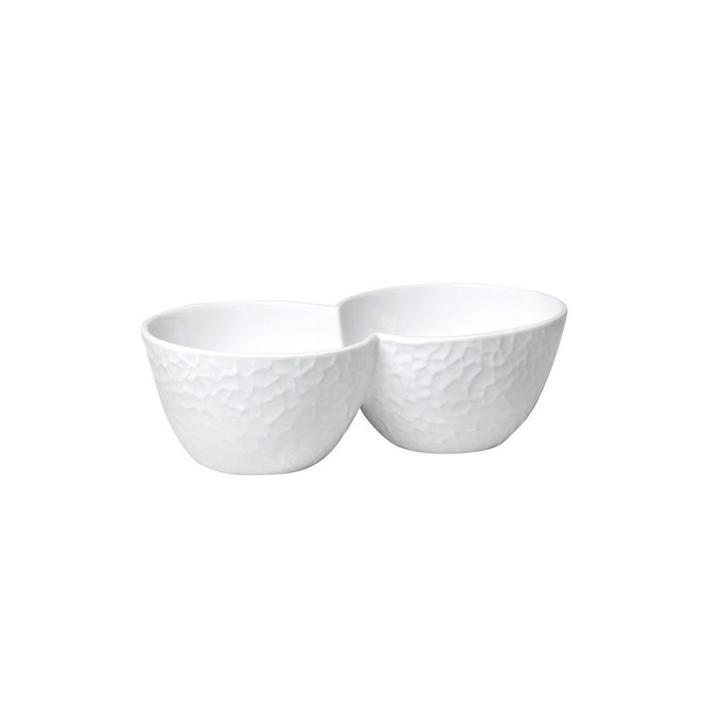 Μπωλ σερβιρίσματος διπλό τσαλακωμένο πορσελάνινο λευκό 20cm Espiel WEM711