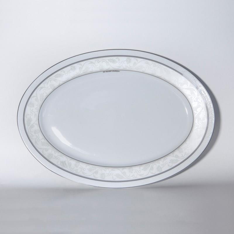Πιατέλα σερβιρίσματος Baton Rouge πορσελάνινη λευκή/πλατίνα Δ32cm