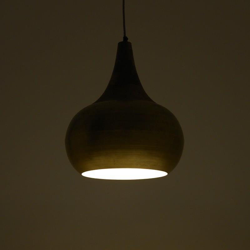 Φωτιστικό οροφής μεταλλικό/ξύλινο αντικέ χρυσό 38x30cm Inart 3-10-189-0029