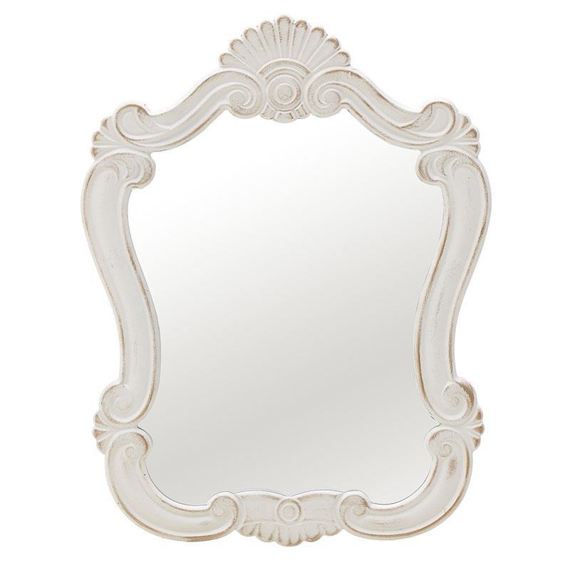 Καθρέπτης τοίχου ξύλινος αντικέ λευκός/χρυσός 40x2x50cm Inart 3-95-480-0001