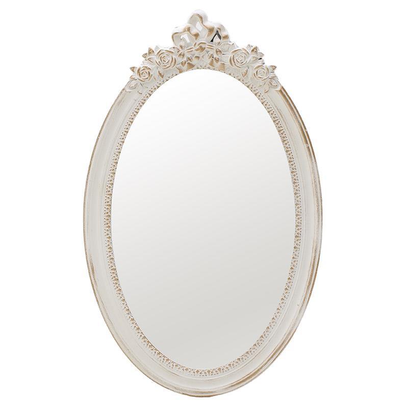 Καθρέφτης τοίχου ξύλινος αντικέ λευκό/χρυσό Δ40x2x60cm Inart 3-95-480-0002