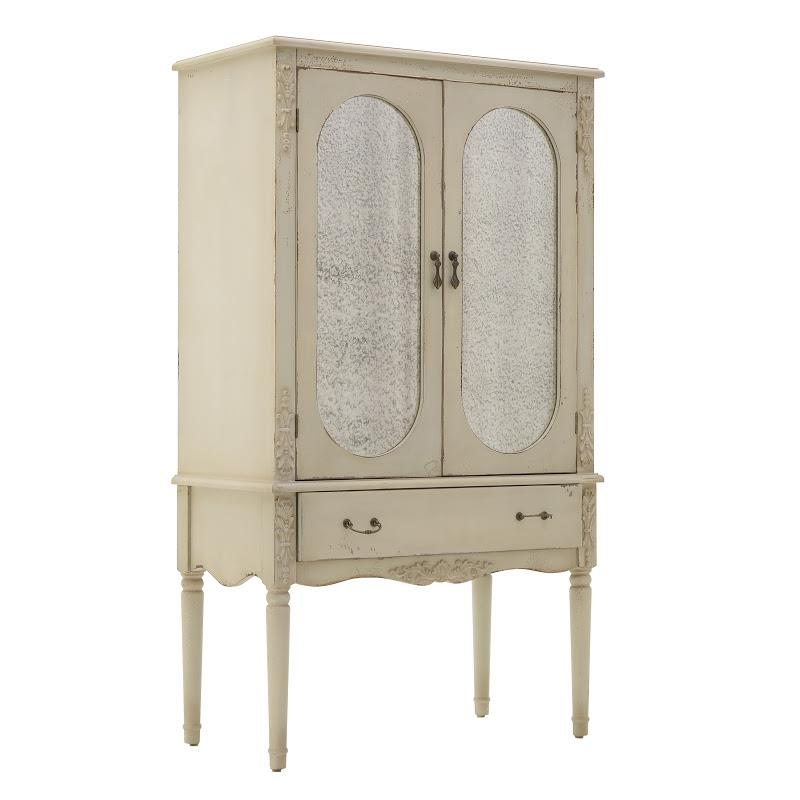 Βιτρίνα ξύλινη/γυάλινη αντικέ μπεζ 80x42x140cm Inart 3-50-106-0078