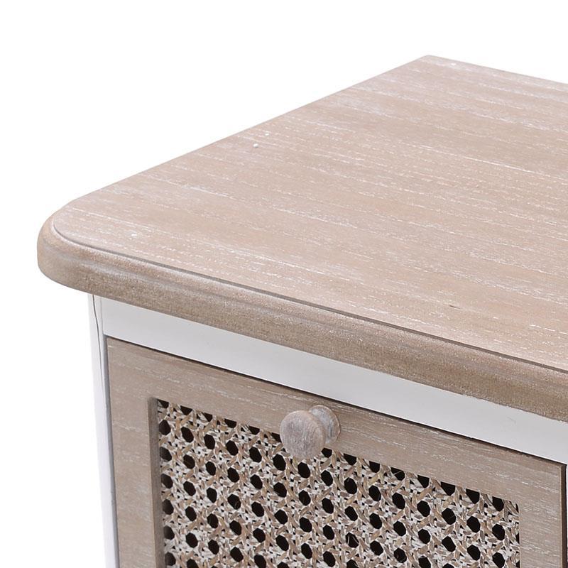 Έπιπλο tv ξύλινο λευκό/natural 110x34x58cm Inart 3-50-104-0364