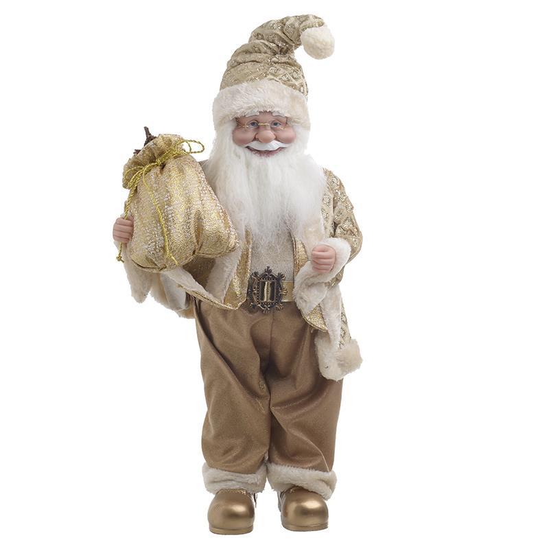 Χριστουγεννιάτικο διακοσμητικό Άγιος Βασίλης polyresin λευκός/χρυσός Υ45cm Inart 2-70-306-0222