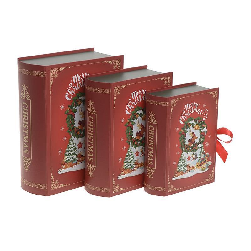 S/3 Κουτί/Βιβλίο Merry Xmas χάρτινο κόκκινο 28x23x10cm Inart 2-70-926-0013