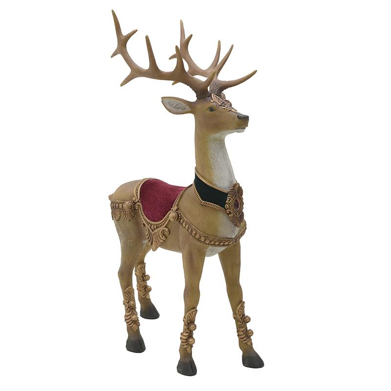 Χριστουγεννιάτικο διακοσμητικό Ελάφι polyresin μπεζ 74x45x126cm Inart 2-70-497-0009