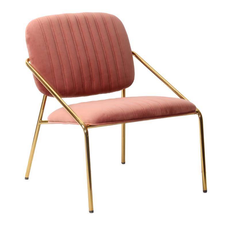 Καρέκλα βελούδινη/μεταλλική ροζ/χρυσή 63x67x74cm Inart 3-50-991-0016