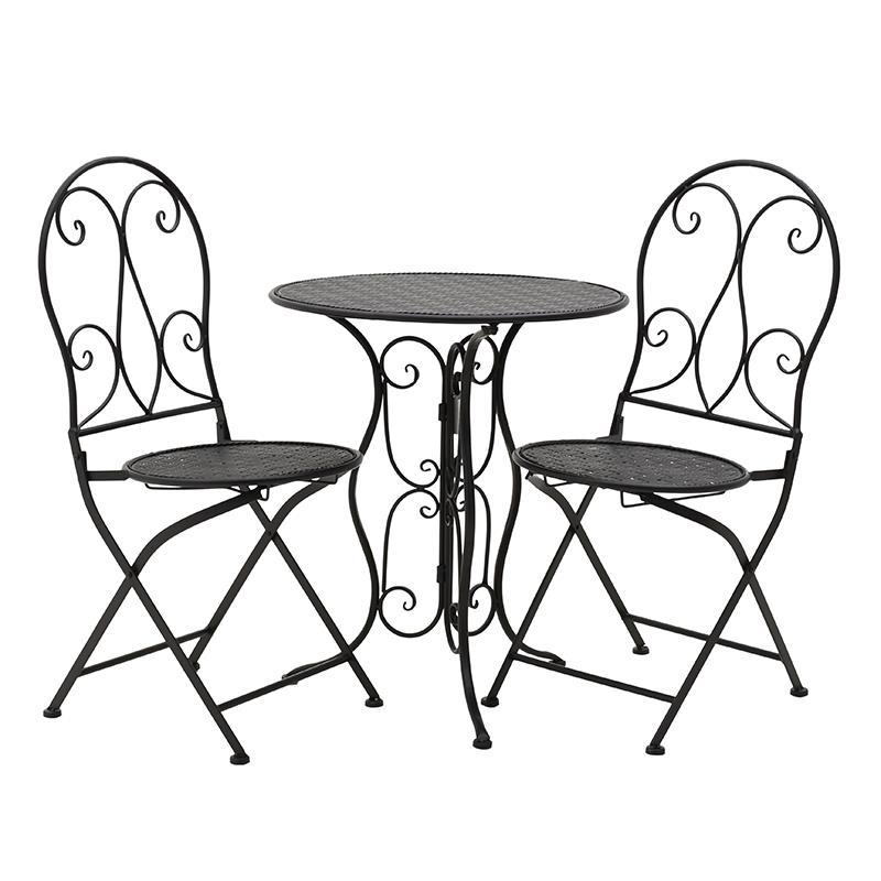 S/3 Τραπέζι με 2 καρέκλες μεταλλικό μαύρο 60x70cm Inart 3-50-207-0090