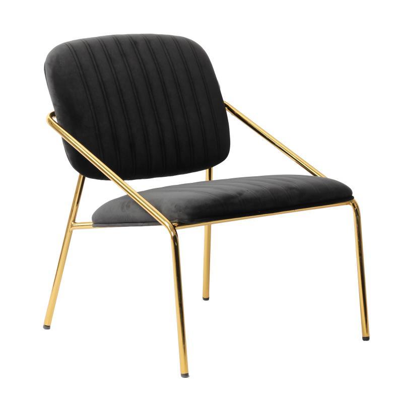 Καρέκλα βελούδινη/μεταλλική μαύρη/χρυσή 63x67x74cm Inart 3-50-991-0018