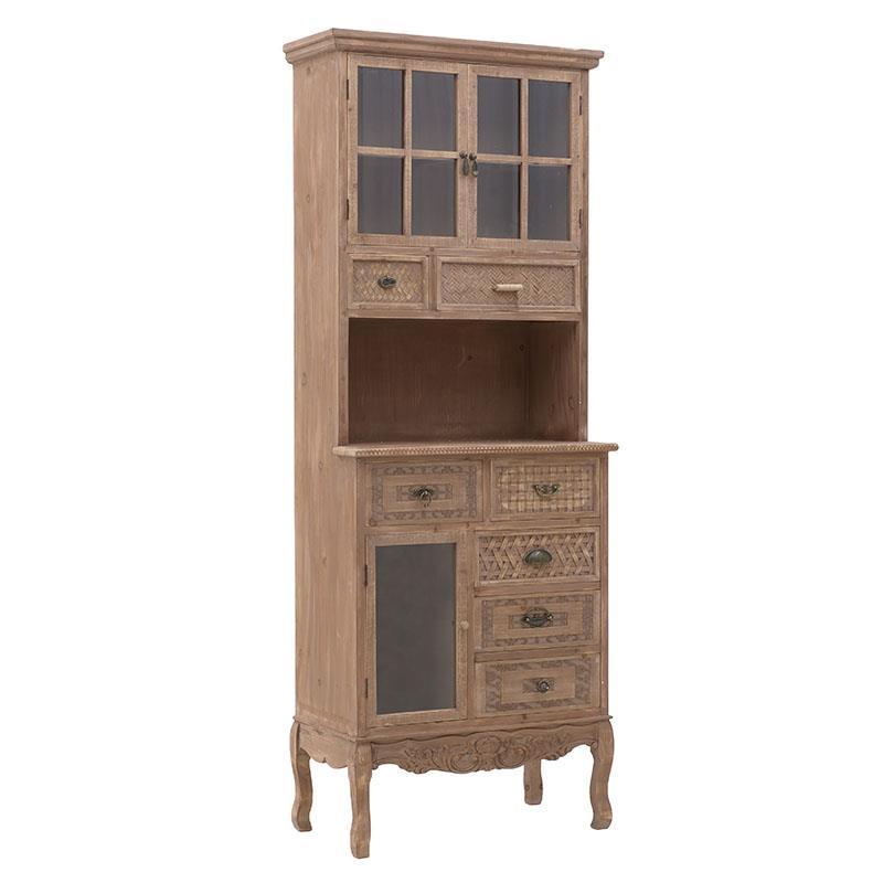 Βιτρίνα/Συρταριέρα ξύλινη natural 70x38x161cm Inart 3-50-156-0068