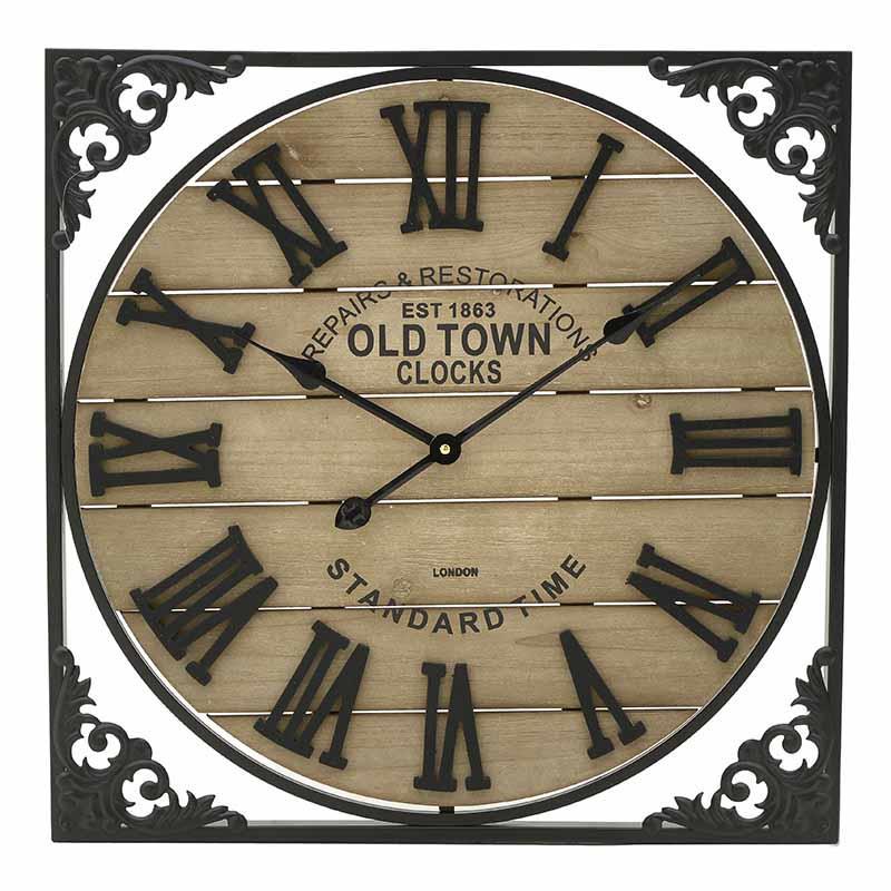 Ρολόϊ τοίχου μεταλλικό/ξύλινο μαύρο/natural 60×4.5cm Inart 3-20-463-0015