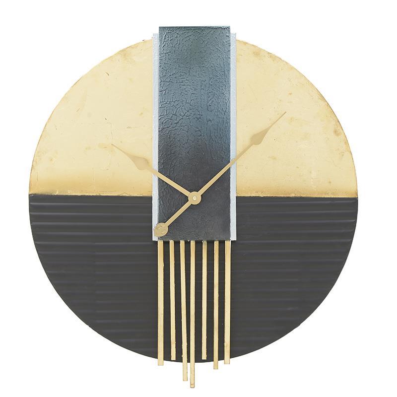 Ρολόι τοίχου μεταλλικό μαύρο/χρυσό 61x6cm Inart 3-20-465-0001