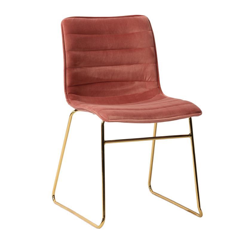 Καρέκλα βελούδινη/μεταλλική ροζ/χρυσή 48x58x76cm Inart 3-50-991-0021