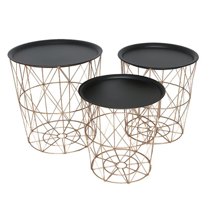S/3 Τραπέζι/Καλάθι αποθήκευσης μεταλλικό μαύρο/χρυσό 50x53cm Inart 3-50-207-0094
