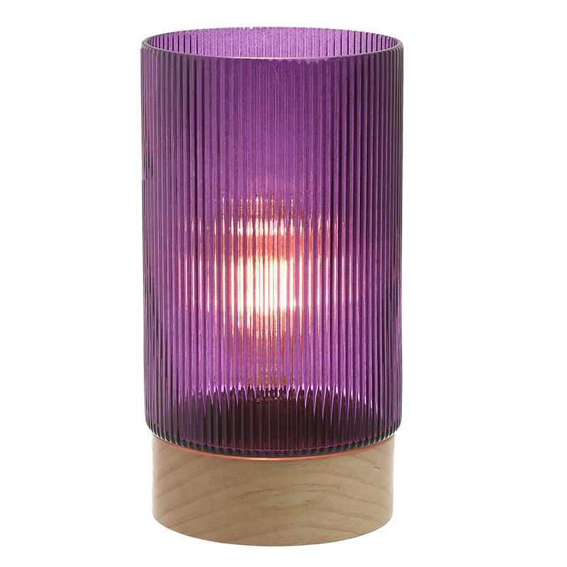 Φωτιστικό επιτραπέζιο με led 3V γυάλινο μωβ Δ14.5x28cm Inart 3-15-104-0050
