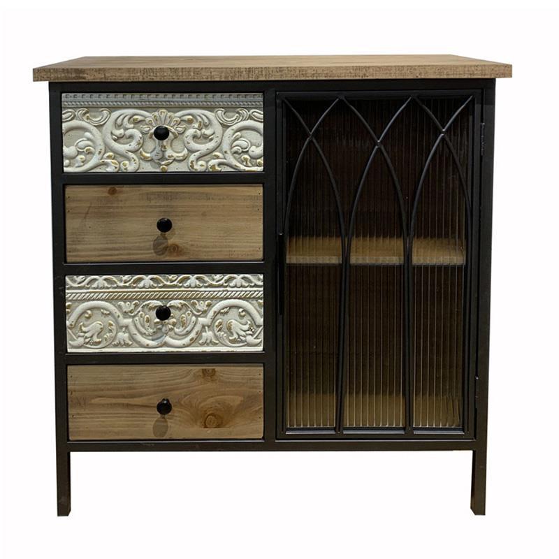 Ντουλάπι/Συρταριέρα ξύλινο/μεταλλικό μαύρο/natural 80x34x85cm Inart 3-50-109-0010