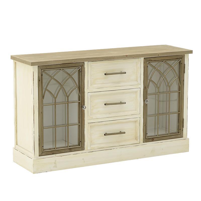 Μπουφές ξύλινος αντικέ λευκός/καφέ 120x35x72cm Inart 3-50-667-0041