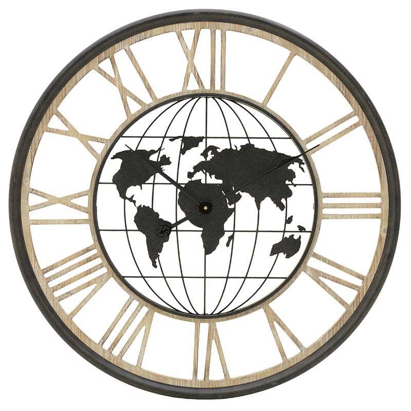 Ρολόι τοίχου ξύλινο μεταλλικό Άτλας καφέ 70x5cm Inart 3-20-484-0442
