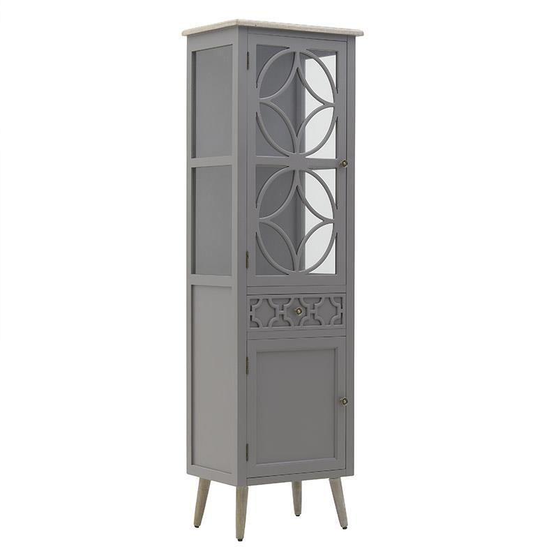 Βιτρίνα ξύλινη γκρι/natural 51x36x172cm Inart 3-50-482-0126