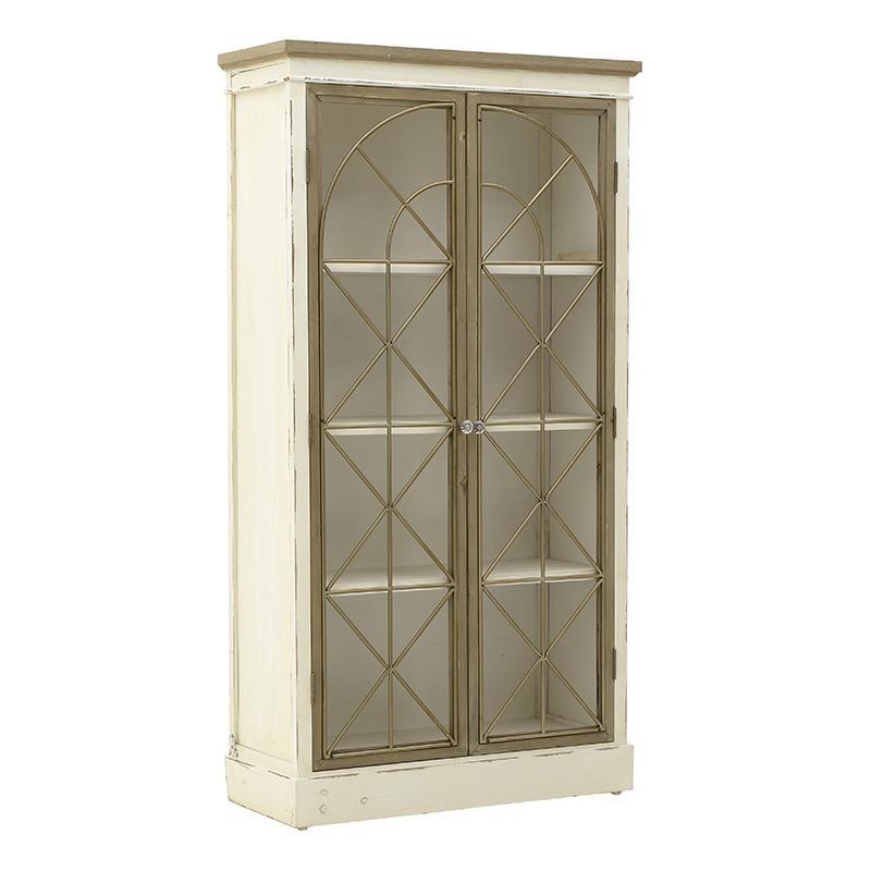 Βιτρίνα ξύλινη αντικέ λευκή/καφέ 82x35x155cm Inart 3-50-667-0042