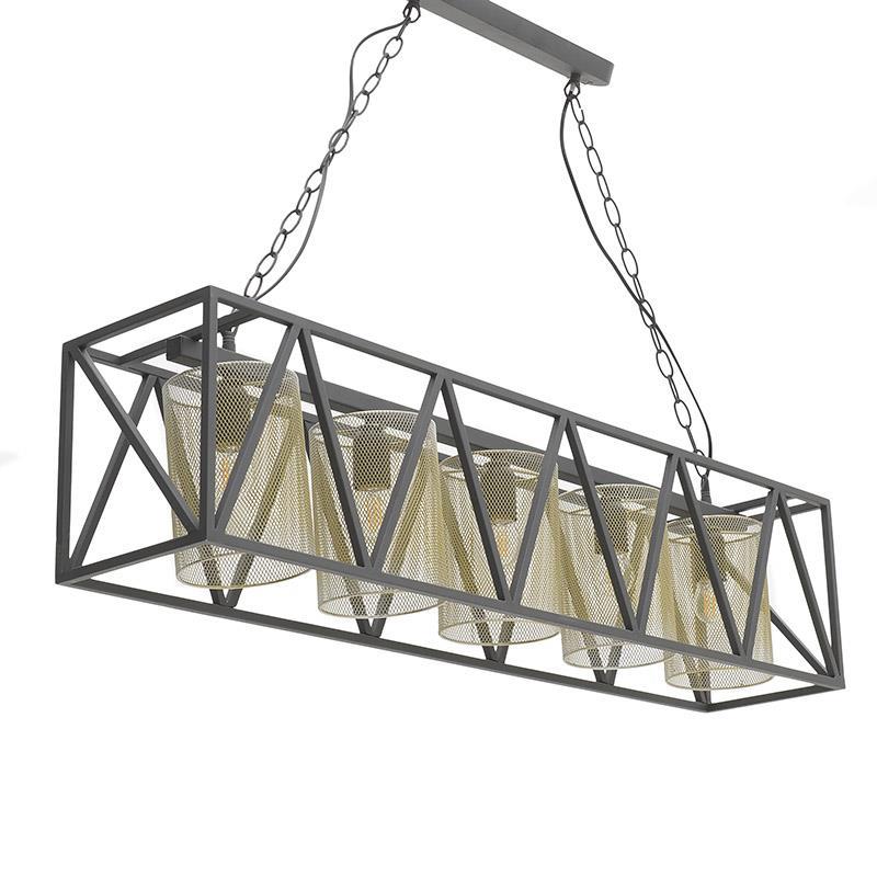 Φωτιστικό οροφής 5φωτο μεταλλικό μαύρο/χρυσό 100x20x23cm Inart 3-10-716-0068