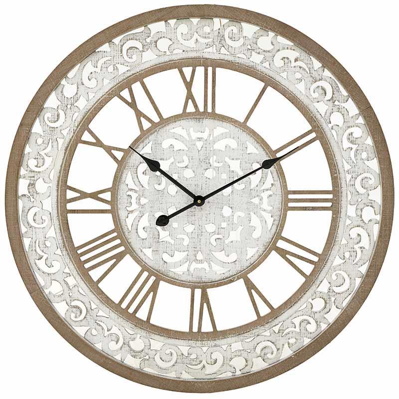 Ρολόι τοίχου ξύλινο/μεταλλικό natural/λευκό 80x5cm Inart 3-20-484-0444