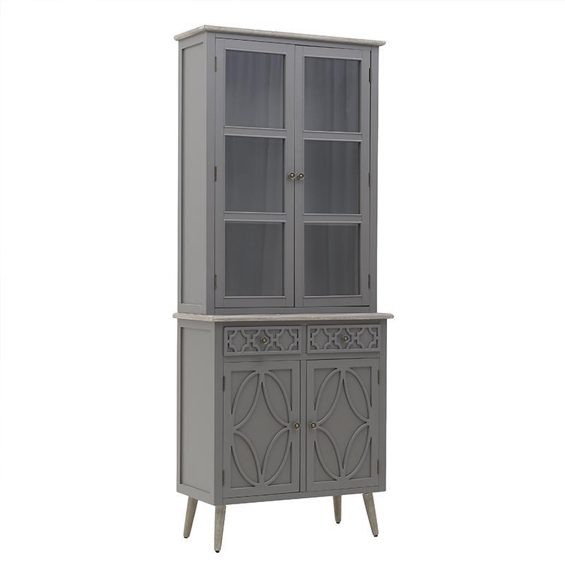 Βιτρίνα ξύλινη γκρι/natural 80x38x180cm Inart 3-50-482-0128