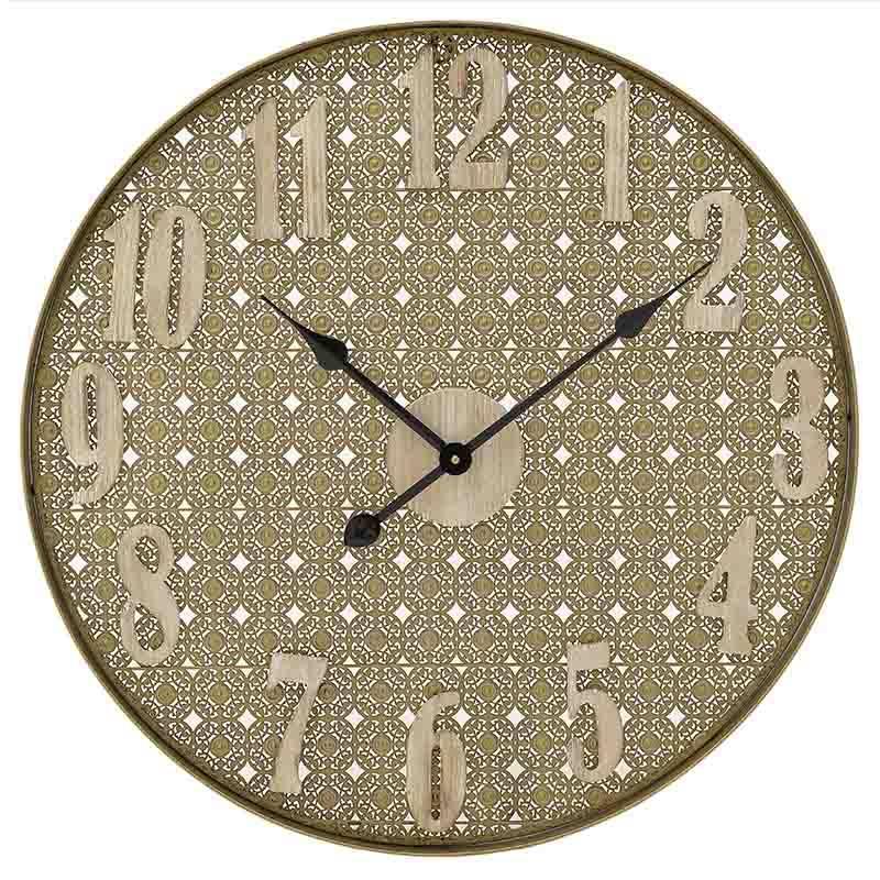 Ρολόι τοίχου μεταλλικό/ξύλινο χρυσό/καφέ 60x5cm Inart 3-20-484-0447