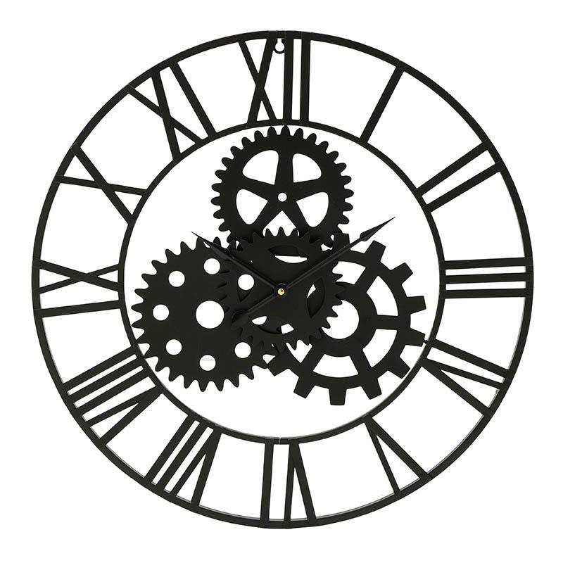 Ρολόϊ τοίχου μεταλλικό μαύρο 60x60cm Inart 3-20-463-0002