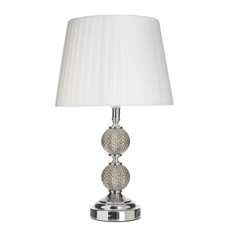 Φωτιστικό επιτραπέζιο μεταλλικό/γυάλινο ασημί/λευκό 28x47cm Inart 3-15-958-0030