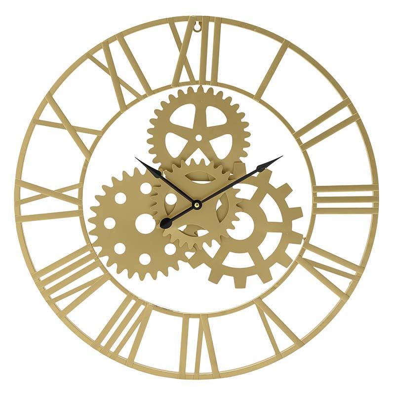 Ρολόι τοίχου μεταλλικό χρυσό 60x60cm Inart 3-20-463-0003