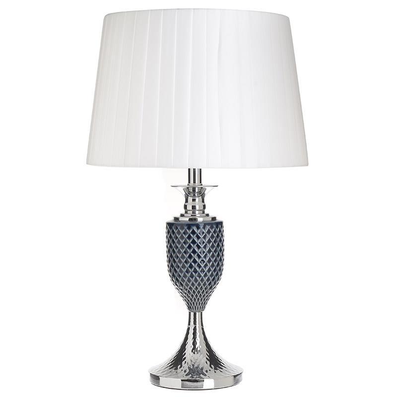 Φωτιστικό επιτραπέζιο μεταλλικό/γυάλινο μπλε/λευκό 30x49cm Inart 3-15-958-0031