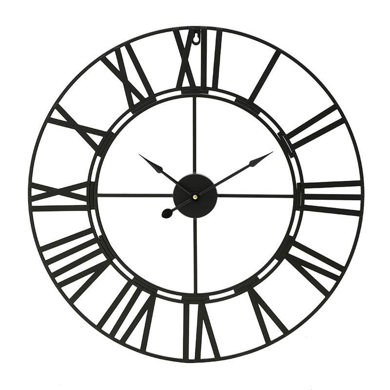 Ρολόι τοίχου μεταλλικό μαύρο 60x60cm Inart 3-20-463-0004