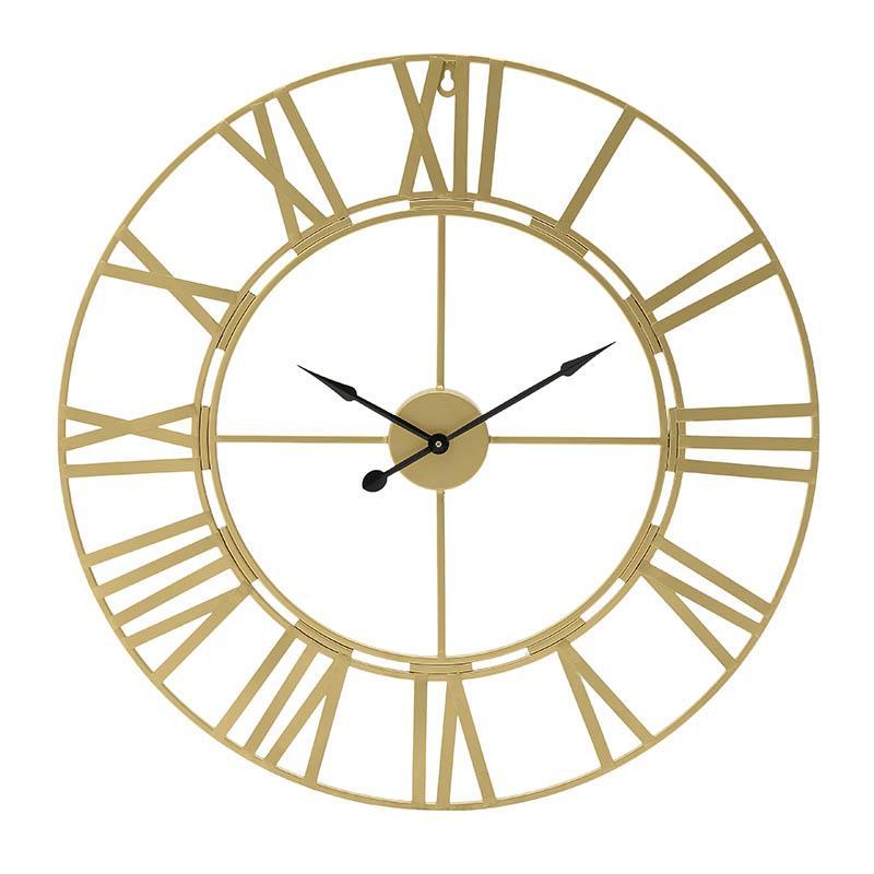 Ρολόι τοίχου μεταλλικό χρυσό 60x60cm Inart 3-20-463-0005