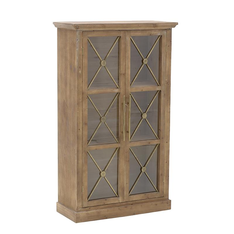 Βιτρίνα ξύλινη natural 76x33x129cm Inart 3-50-293-0069
