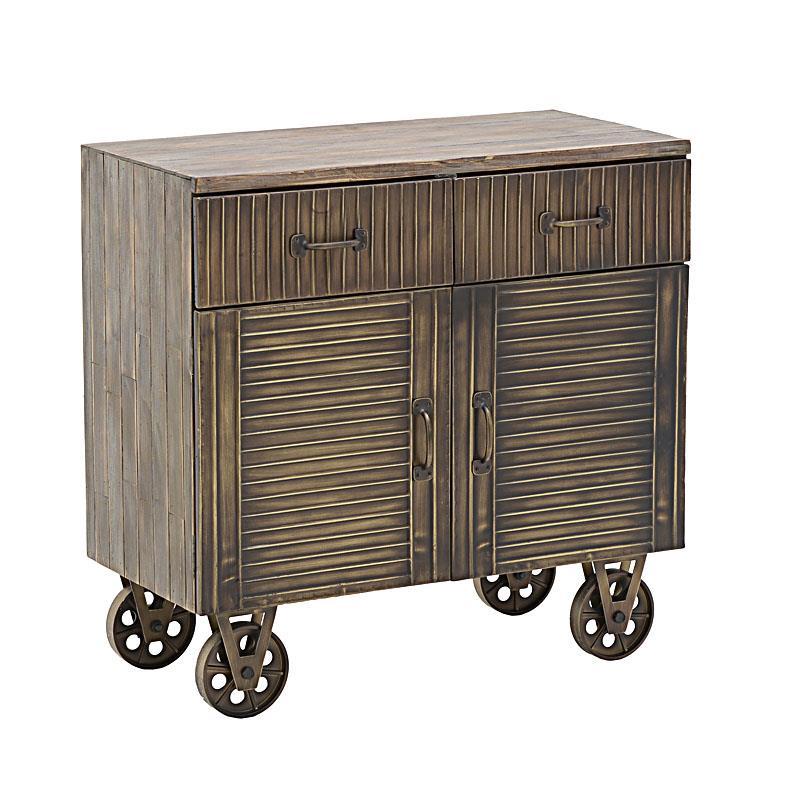 Ντουλάπι ξύλινο αντικέ χρυσό 81x40x78cm Inart 3-50-479-0069