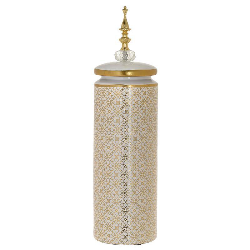Βάζο με καπάκι κεραμικό λευκό/χρυσό Δ12x45cm Inart 3-70-902-0087