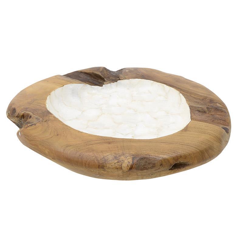 Μπωλ ξύλινο καφέ/λευκό 40x40x8cm Inart 3-70-557-0001