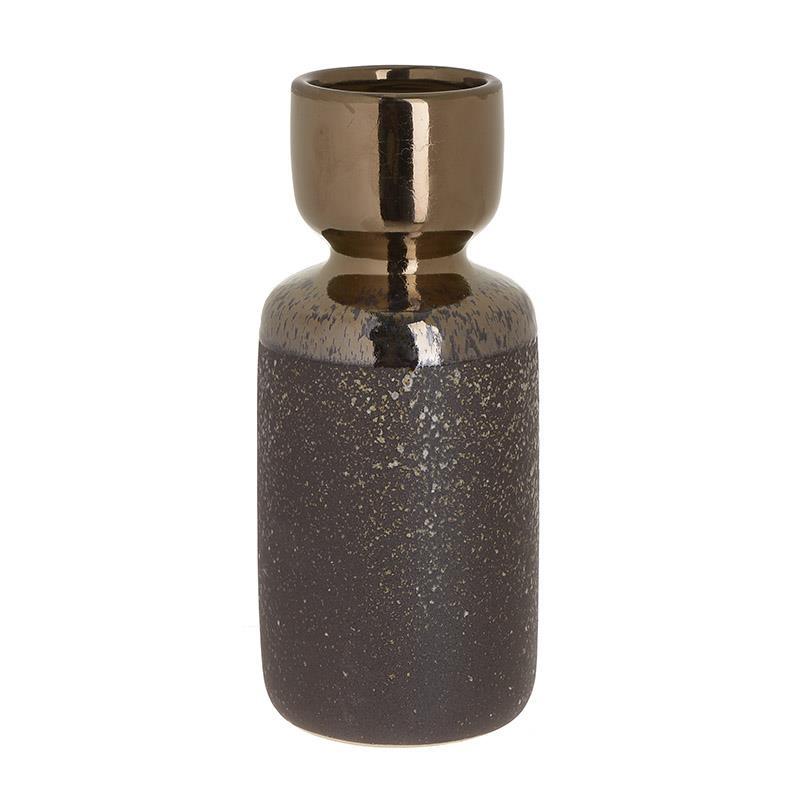 Βάζο κεραμικό μπεζ/χρυσό 11x26cm Inart 3-70-515-0016