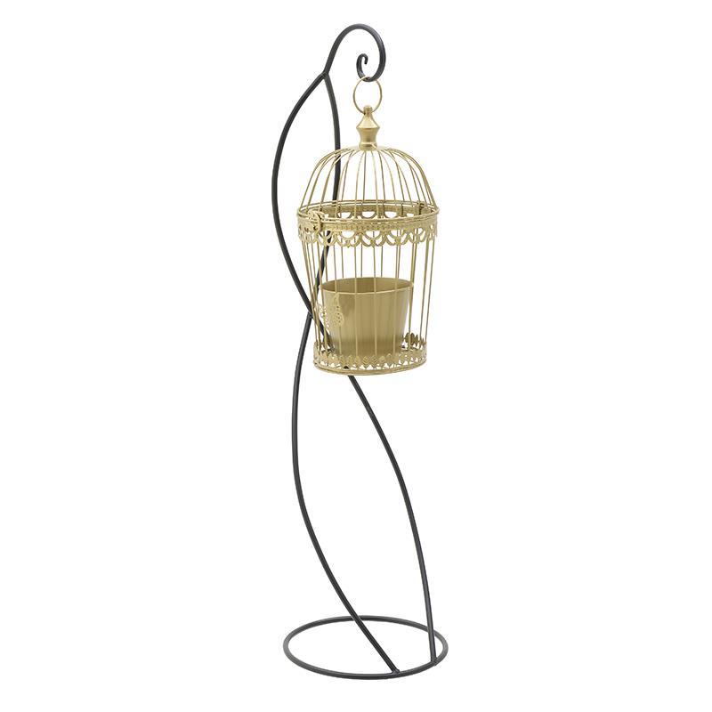 Φανάρι/Κλουβί κρεμαστό μεταλλικό μαύρο/χρυσό 28x28x105cm Inart 3-70-907-0188