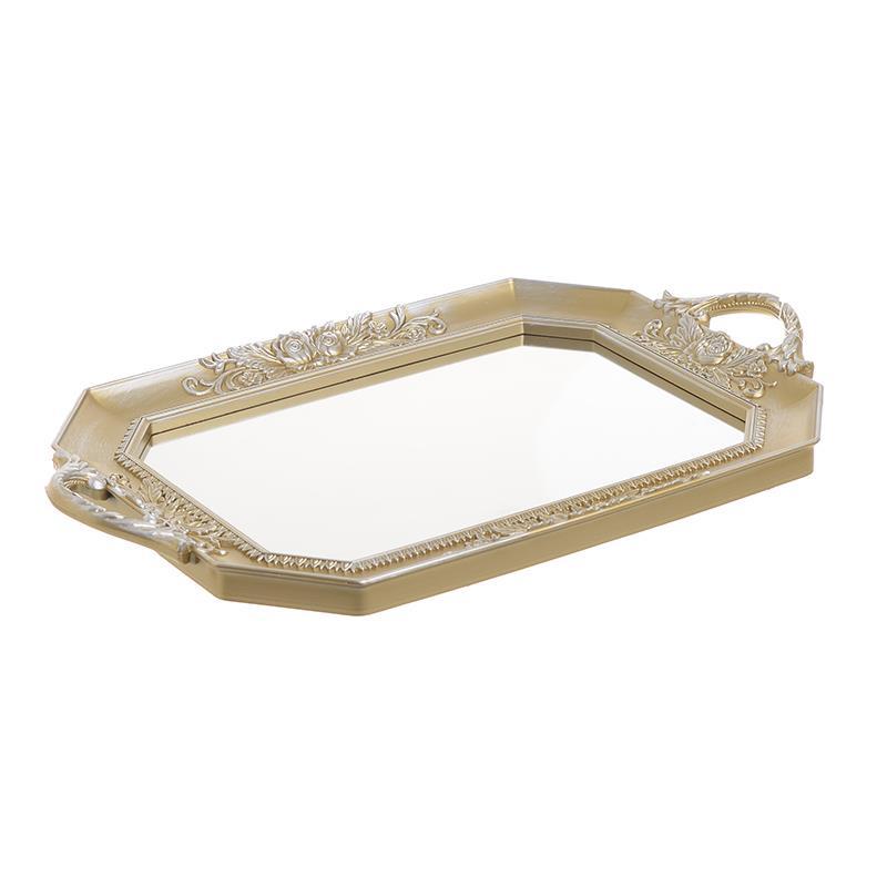 Δίσκος pl με καθρέπτη αντικέ χρυσός/ασημί 40x25x3.5cm Inart 3-70-413-0006