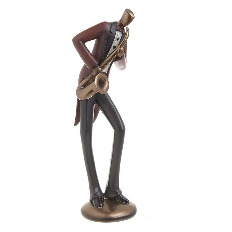 Διακοσμητική φιγούρα Σαξοφωνίστας polyresin μαύρη/κεραμιδί 10x10x36cm Inart 3-70-547-0717