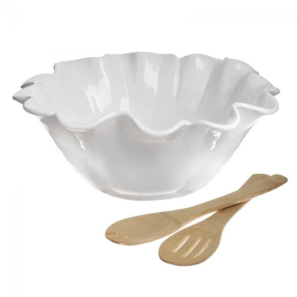 Σετ σαλάτας πορσελάνινο/ξύλινο λευκό/natural Inart 6-60-476-0005