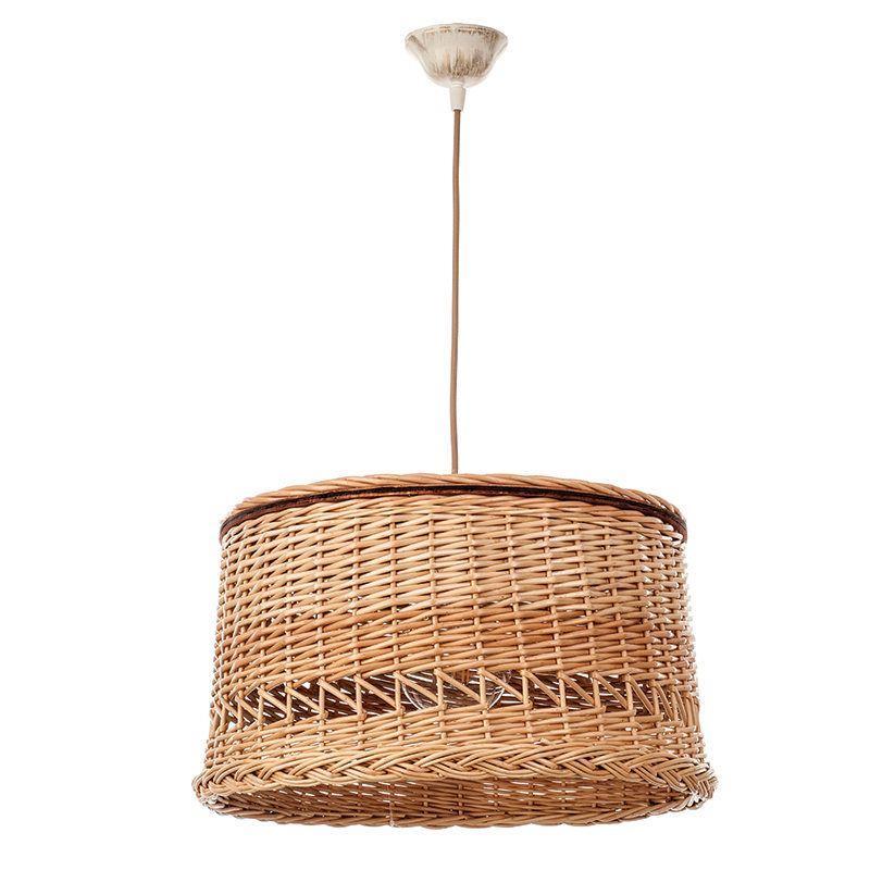 Φωτιστικό οροφής κρεμαστό μονόφωτο μεταλλικό/υφασμάτινο απο ρατάν καφέ 40x23cm InLight 4497-A
