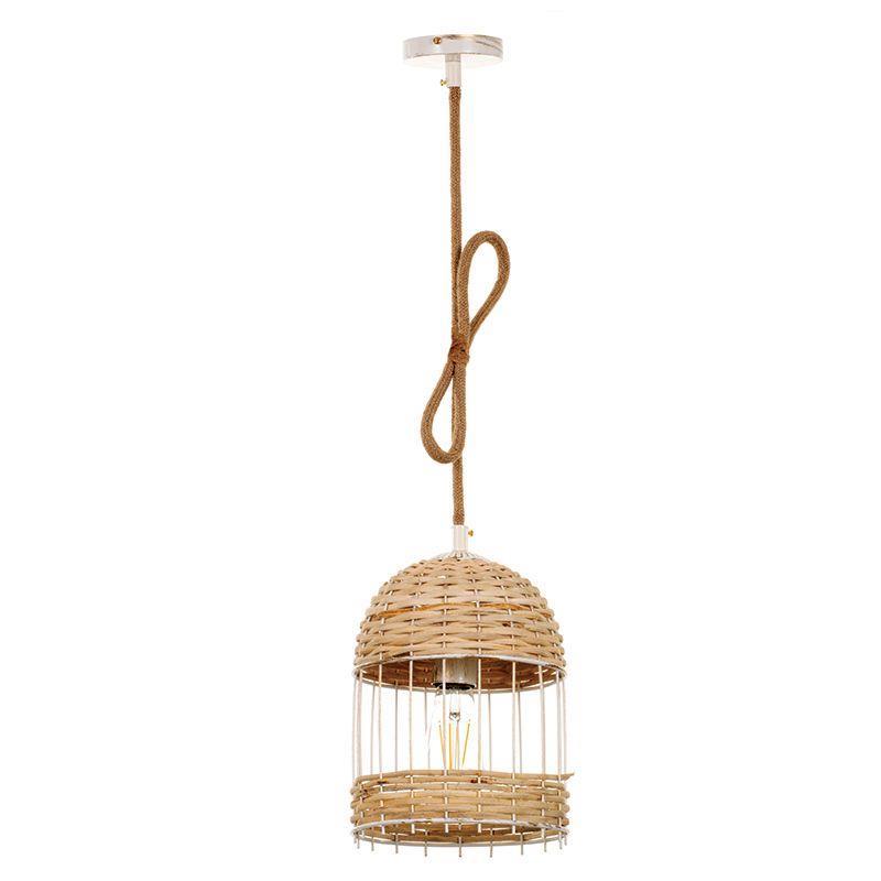 Φωτιστικό οροφής κρεμαστό μονόφωτο μεταλλικό/ρατάν καφέ 20x27cm InLight 4467B