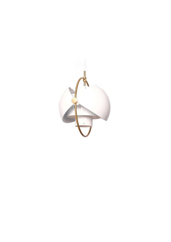 Φωτιστικό οροφής κρεμαστό μονόφωτο μεταλλικό λευκό/χρυσό 38x40cm InLight 4506-White