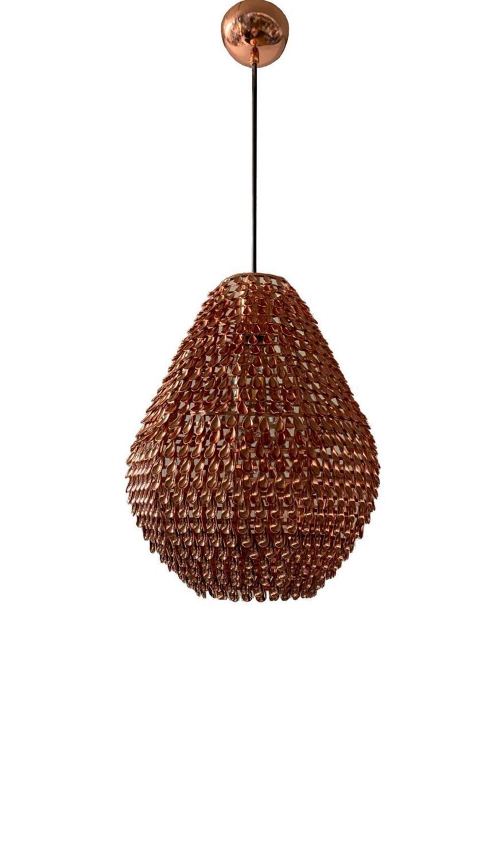 Φωτιστικό οροφής κρεμαστό μονόφωτο μεταλλικό χάλκινο 18x22cm InLight 4510-B